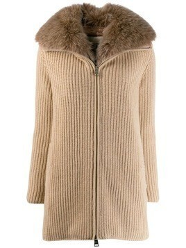 Herno ribbed cashmere zip-up jacket - Neutrals