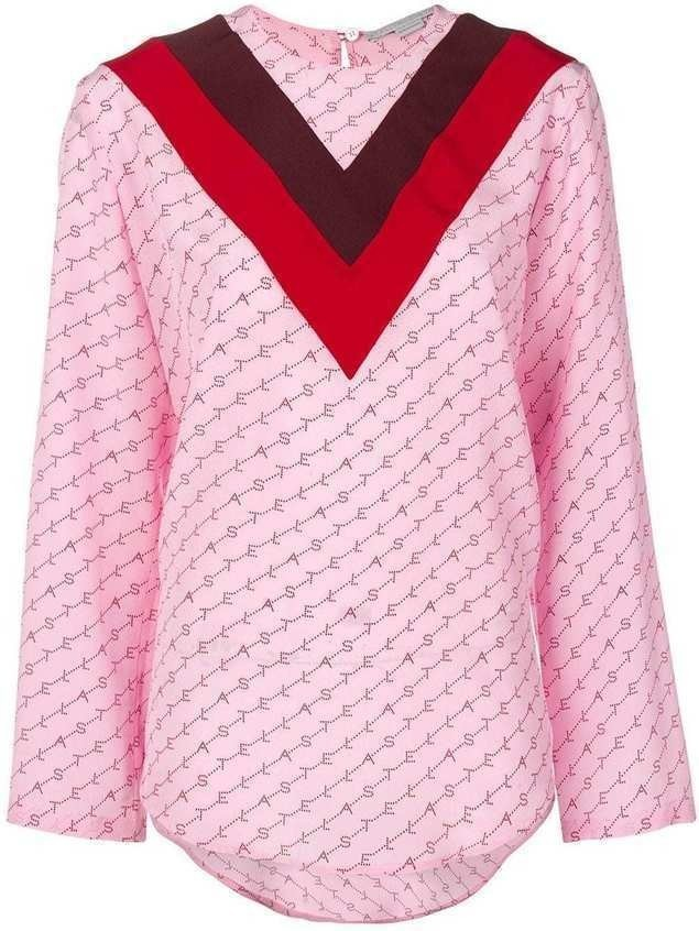 Stella McCartney V appliqué logo T-shirt - PINK