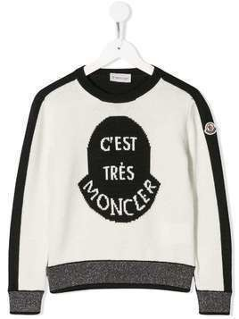 Moncler Kids C'est Tres sweater - White