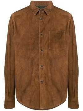 Ajmone suede classic shirt - Brown