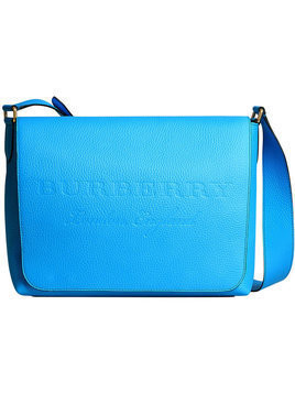 Burberry - large logo embossed messenger bag - Herren - Calf Leather/Polyester/Polyurethane - One Size - Blue