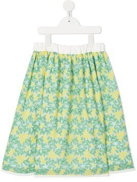 Familiar floral flared skirt - Green