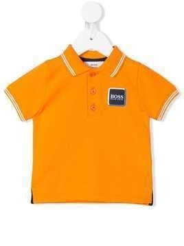 Boss Kids logo patch polo shirt - Orange