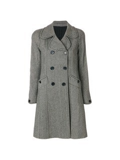 Christian Dior Vintage herringbone double-breasted coat - Grey