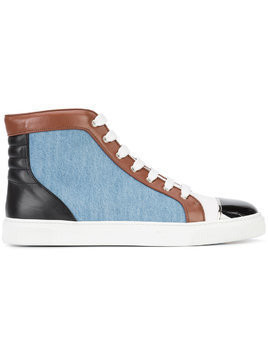 Louis Leeman contrast lace up hi-tops - Blue