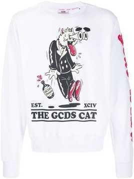 Gcds cat print sweatshirt - White