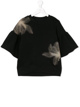 Ioana Ciolacu Kids pixelated floral print top - Black