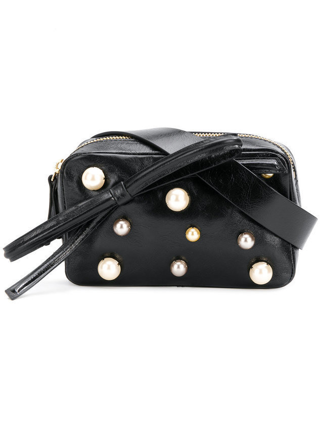 Red Valentino faux pearl-embellished belt bag - Black