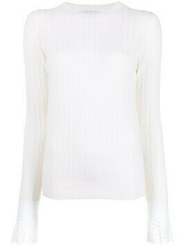 Erdem ruffled cuff ribbed-knit jumper - White