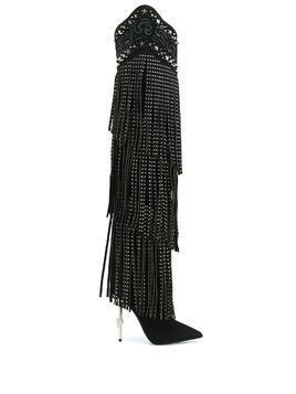 Philipp Plein embellished fringed boots - Black