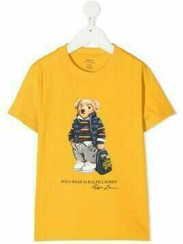 Ralph Lauren Kids short-sleeved teddy print T-shirt - Yellow
