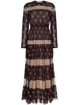 Giambattista Valli long sleeve pattern maxi dress - Black