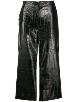 Brognano croc embossed cropped trousers - Black
