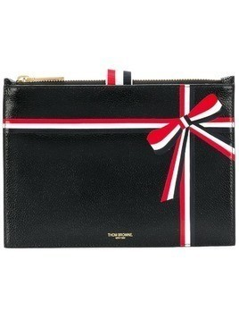 Thom Browne large ribbon-detail coin purse - Black