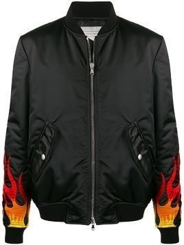 Route Des Garden embroidered flame cuffs bomber jacket - Black