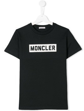Moncler Kids TEEN logo print T-shirt - Black