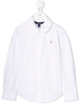 Ralph Lauren Kids ruffled collar shirt - White