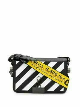 Off-White diagonal stripe motif shoulder bag - Black