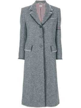 Thom Browne Engineered Arm Stripe Frayed Overcoat In Donegal Wool - Grey