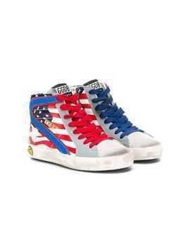 Golden Goose Kids USA flag high top sneakers - Blue