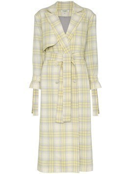 Matériel check wool trench coat - Grey