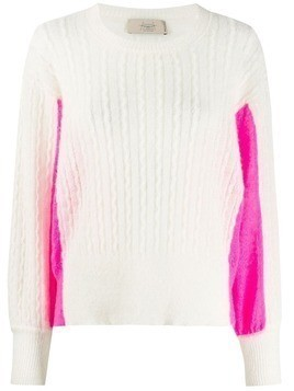Maison Flaneur contrast-panel sweater - White