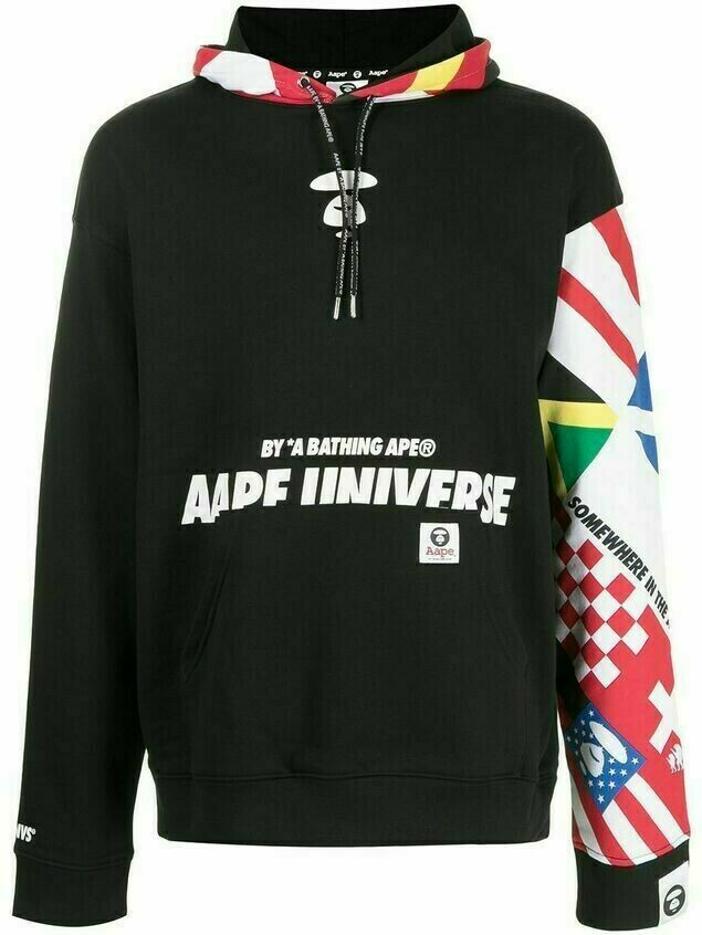 AAPE BY *A BATHING APE® oversized patchwork print hoodie - Black