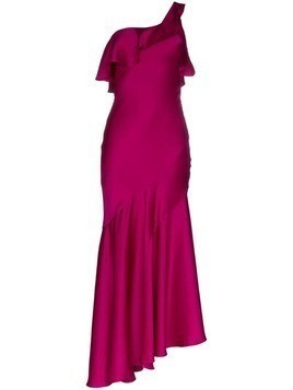 Galvan one-shoulder asymmetric midi dress - Pink