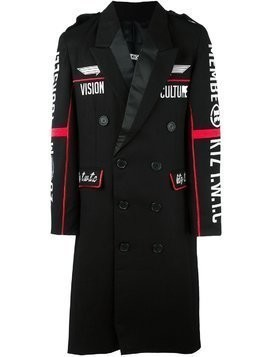 KTZ embroidered double breasted coat - Black