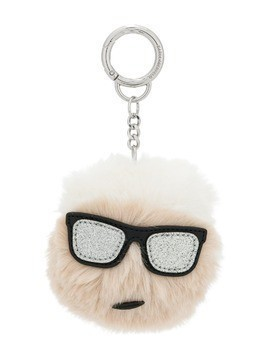 Karl Lagerfeld Iconic Lagerfeld furry keychain - White