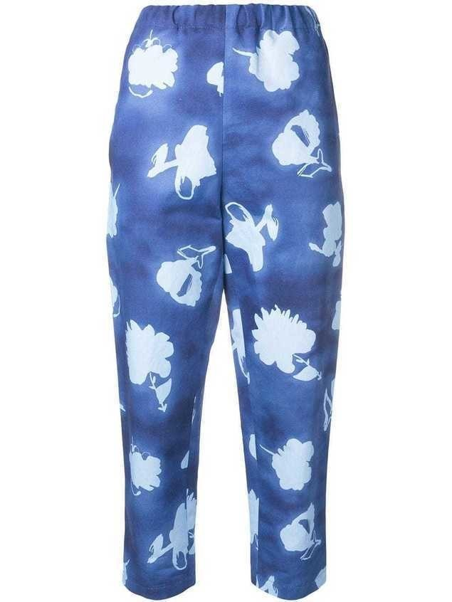 Marni patterned trousers - Blue