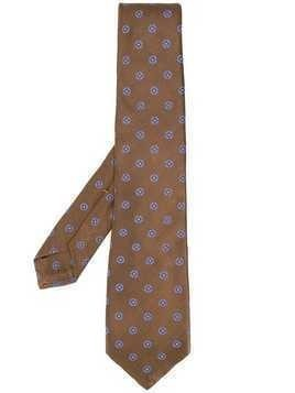 Kiton geometric pattern silk tie - Brown