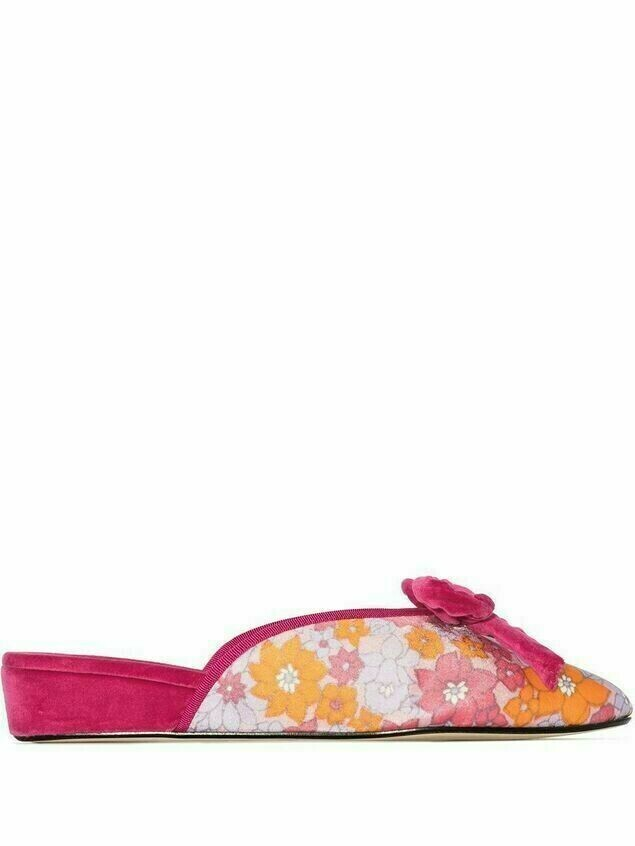Olivia Morris At Home Daphne floral-print slippers - PINK