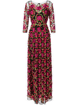 Marchesa Notte floral embroidered gown - Pink
