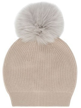 Lorena Antoniazzi fur bobble hat - Neutrals