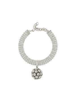 Alessandra Rich crystal embellished sphere choker - Silver