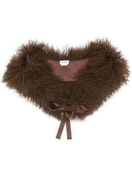 P.A.R.O.S.H. shearling ribbon tie scarf - Brown