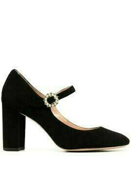 Kate Spade suede mary-jane pumps with crystal buckle detail - Black
