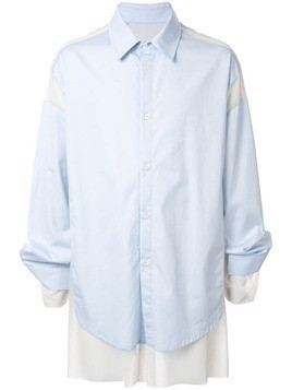 Hed Mayner layered poplin shirt - Blue