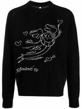 Soulland Esrum graphic intarsia jumper - Black