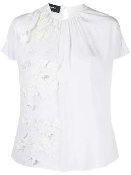 Rochas floral embroidered silk blouse - White