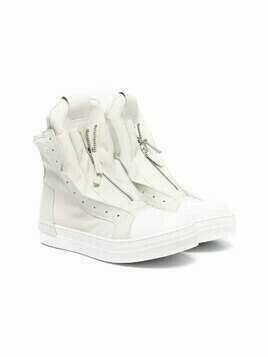 Cinzia Araia Kids TEEN front zip high-top sneakers - White