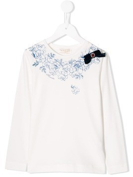 Monnalisa floral print long-sleeved T-shirt - White
