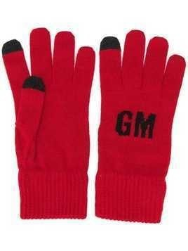MSGM knitted logo gloves - Red