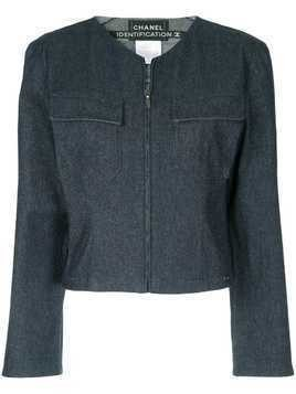 Chanel Pre-Owned collarless zipped jacket - Blue