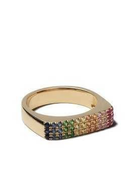 Ef Collection 14kt yellow gold Rainbow pinky ring