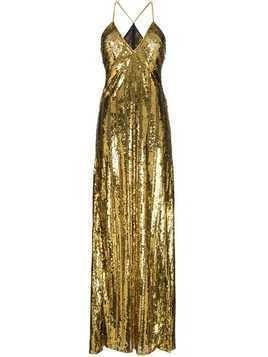 Galvan sequin-embellished long dress - Gold