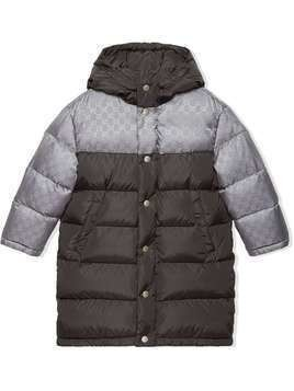 Gucci Kids Padded nylon jacket with GG motif - Grey