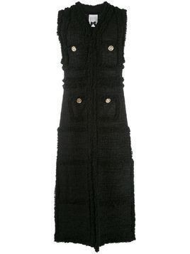Edward Achour Paris long textured sleeveless coat - Black