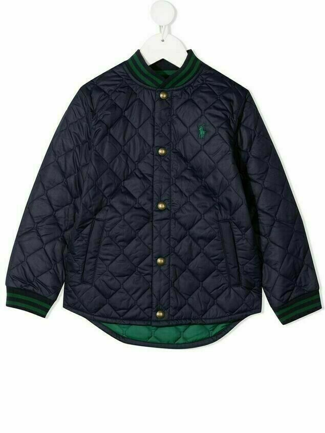 Ralph Lauren Kids diamond-quilt bomber jacket - Blue